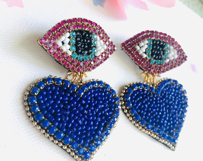 Stud Evil Eye Earring, beaded blue heart earrings, handmade statement earrings, evil eye charm earrings, edgy earrings, funny earrings