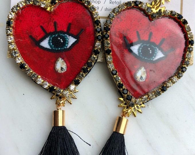 Evil eye earrings. Heart earrings. Handmade earrings. Tassel earrings. Statement.