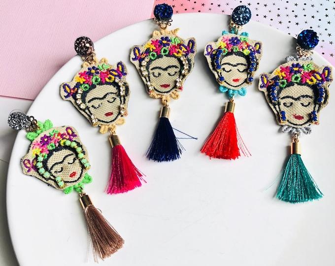 Frida Kahlo Earrings, handmade statement earrings, tassel earrings, Frida Kahlo jewelry, Bold earrings, mexican earrings, edgy earrings