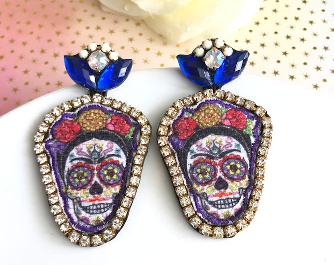 Frida Kahlo Earrings, Handmade Statement Earrings, sugar skull earrings, frida earrings, Frida Kahlo jewelry, halloween earrings