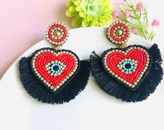 Red Heart tassel earrings, evil eye earring, seed bead fringe earrings, Handmade statement earrings, turkish eye earrings, evil eye charm