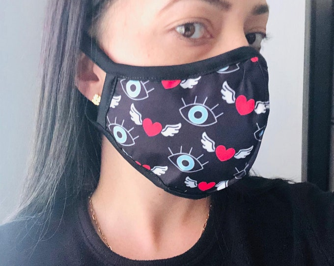 Evil eye Face Mask with filter, protective mask, washable facemask, reusable face mask, face covering for women