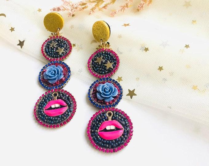 Beaded lip earring, small heart earrings, statement earrings, bold earrings, edgy earrings, round beaded earrings