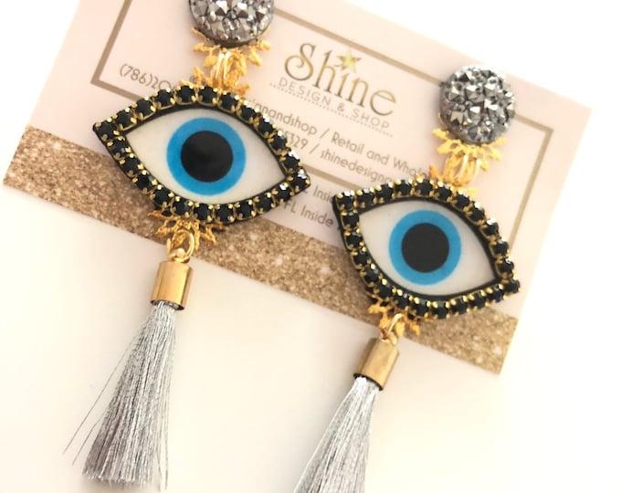 Evil eye earrings. Tassel earrings. Handmade earrings. Protection charms.
