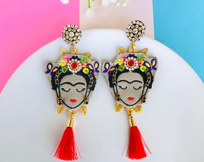 Frida Kahlo Earrings, handmade statement earrings, tassel earrings, Frida Kahlo jewelry, Frida earrings, stunning earrings