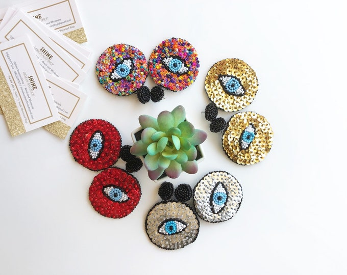 Handmade beaded evil eye with sequins