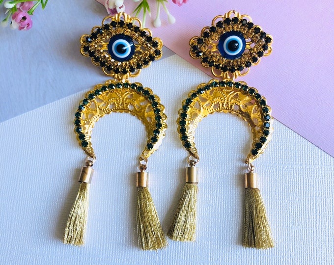 Evil eye earring, gold tassel earrings, moon phase earrings, long fringe earrings, protection earrings, handmade Statement earrings