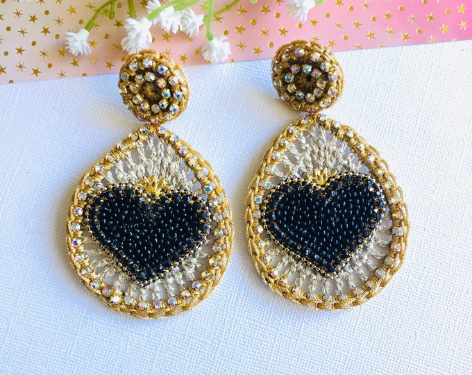 Black heart earrings, handmade Crochet earrings, Statement earrings, big heart earrings, stunning earrings