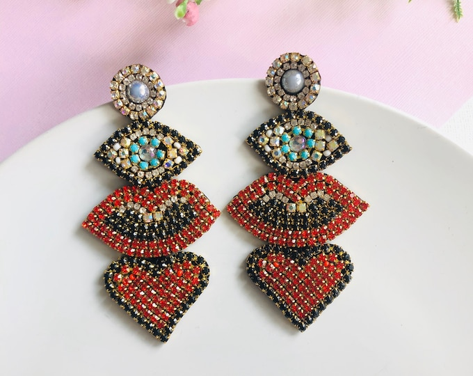 Oversized Evil eye earring, lip earrings, red heart Earrings,  handmade statement earrings, protection earrings, edgy earrings
