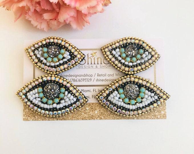 Handmade Evil eye earring, protection earrings, turkish eye earrings, statement earrings, seed bead earrings