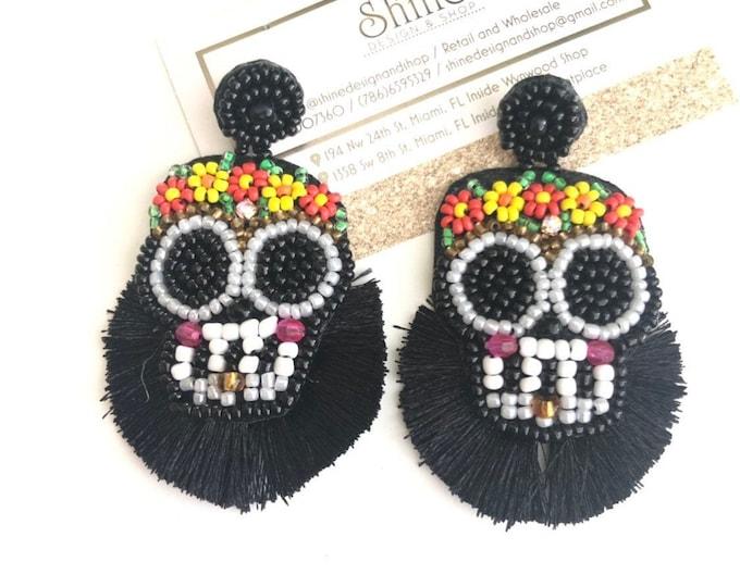 Sugar Skull earrings, seed beed fringe earrings, handmade statement earrings, black tassel earrings, wanderlust earrings