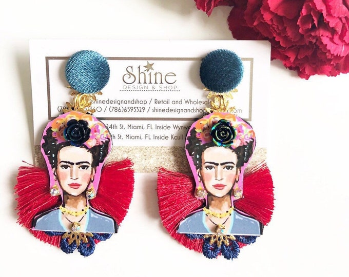 Handmade frida kahlo earrings. Red tassel earrings. Statement.