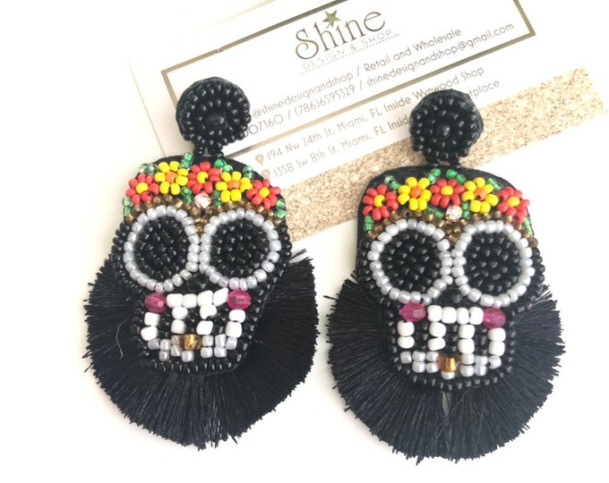 handmade skulls earrings