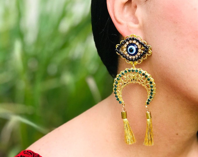 Moon And evil eye with tassels. Statement earrings