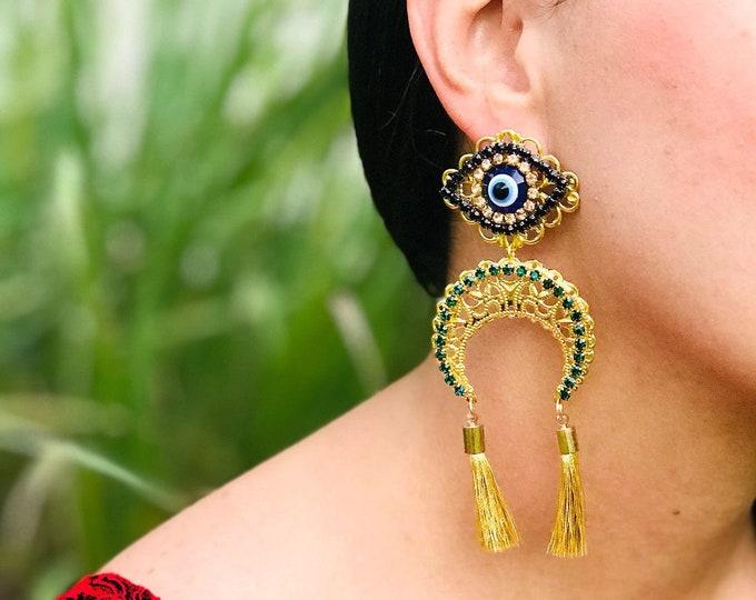 Evil eye earrings. Statement earrings. Moon earrings. Tassel earrings. Handmade earrings