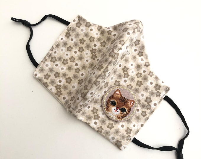 Cat Face Mask with filter, protective mask, washable facemask, reusable face mask, adjustable face mask, face covering