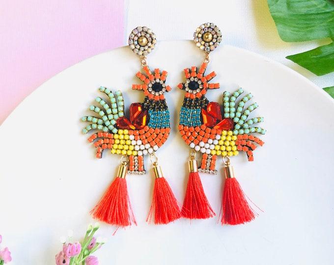 Chicken Rooster earrings, birds earrings, handmade statement earrings, oversized bird earrings, red tassel earrings, funny earrings