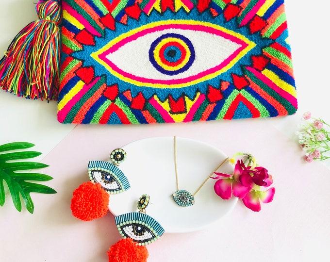 Wayuu clutch handbag bundle, evil eye charm necklace, evil eye pom pom earrings, evil eye combo jewelry, handmade wayuu bag, gift pack