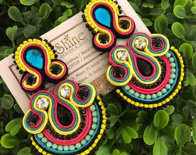 Soutache earrings, handmade earrings, multicolored earrings, light earrings, statement earrings.