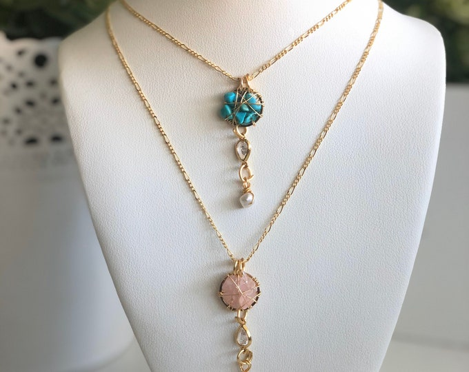Necklace. Handmade. Wire jewelry. Turquoise necklace. Rose quartz necklace.
