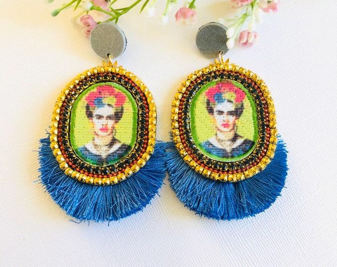 Frida Kahlo earrings, Handmade Statement earrings, Neon earrings, blue tassel earrings, frida jewelry, stunning earrings