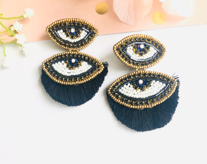 Evil eye earrings, handmade earrings, statement earrings, beaded earrings, black earrings, beaded evil eye earrings, dainty evil eye