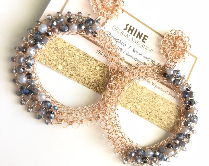 gold-plated silver wire weave earring