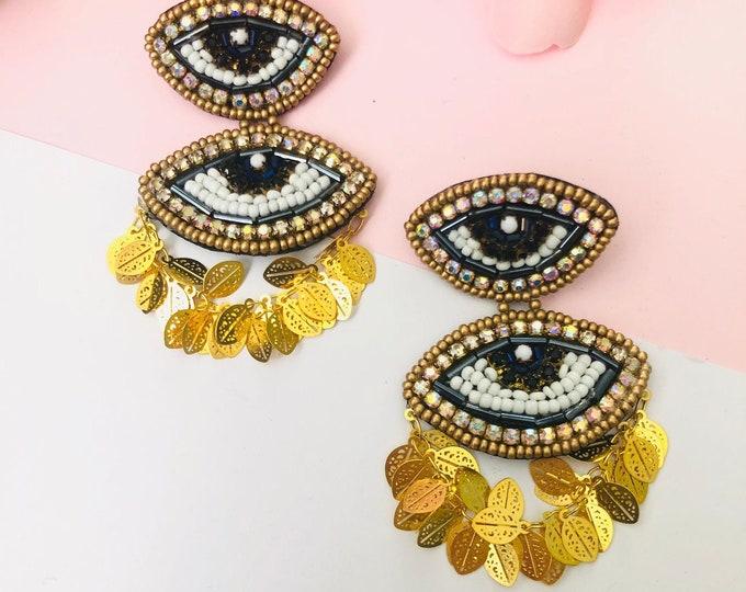 Beaded Evil eye earring, handmade statement earrings, dainty evil eye charm, bold earrings, turkish eye earrings, good luck eye