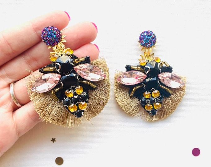 Handmade bumblebee earrings, gold tassel earrings, statement earrings, fringe earrings, stunning earrings, bee earrings