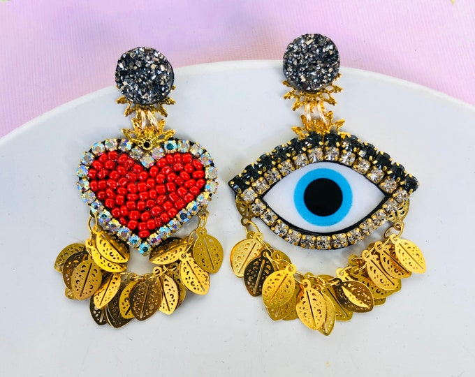 Evil eye earring, heart earrings, protection earrings, Mismatched earrings, unusual earrings, funny earrings, Statement earrings