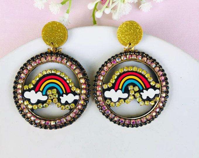 Rhinestone rainbow earrings, multicolored statement earrings, wanderlust jewelry, dainty kawaii earrings, cloud earrings, edgy earrings