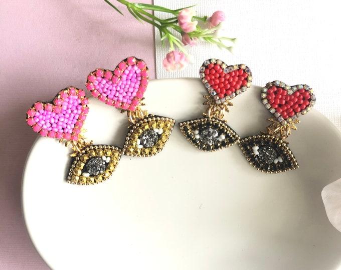 Evil eye earring, red heart earrings, handmade evil eye earrings, protection earrings, dainty evil eye, pink heart earrings