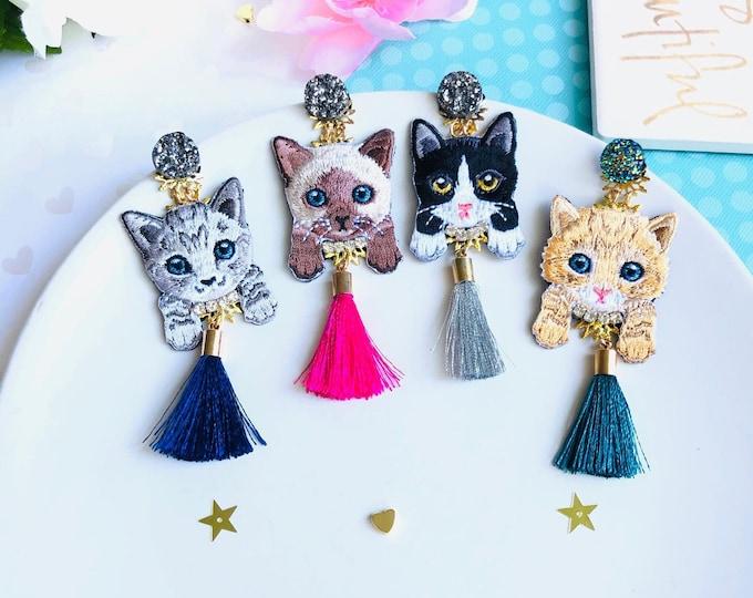Cute cat Earrings, blue tassel earrings, statement earrings, funny earrings, kawaii earrings, edgy earrings, wanderlust jewelry