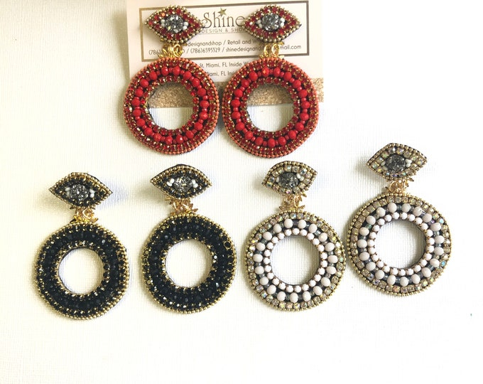 Evil eye earrings, black earrings, light weight earrings, Handmade earrings, statement earrings, geometric earrings, beaded earrings