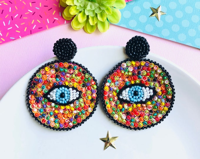 Beaded evil eye rainbow earrings, handmade Statement earrings, edgy evil eye earring, big seed bead earrings, oversized earrings