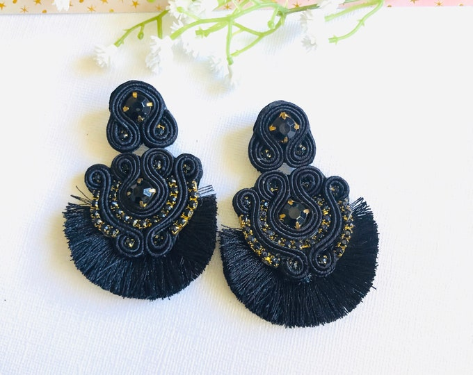 Handmade Soutache earring, soutache jewelry, Statement earrings, stunning earrings, wanderlust earrings, soutache tassel earrings