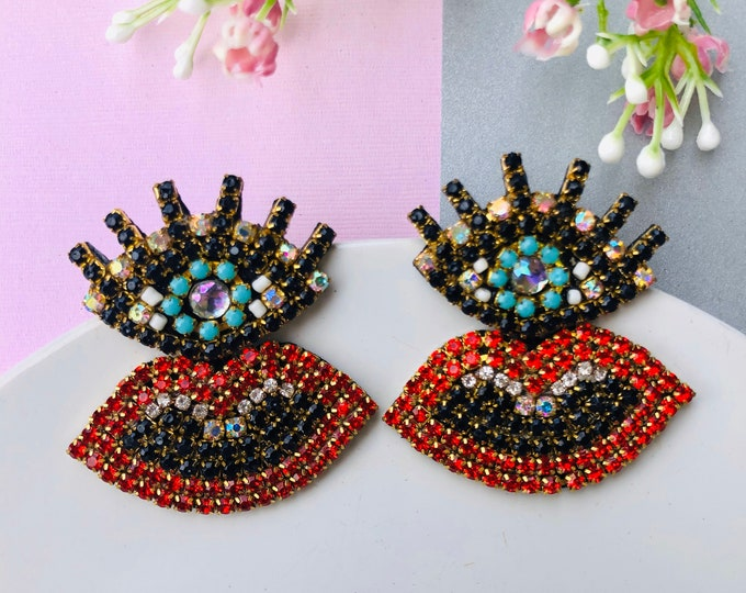 Evil eye earring, lip earrings, protection earrings, handmade statement earrings, stunning earrings, kiss earrings