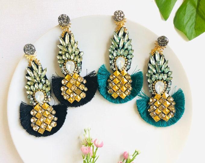 Beaded Pineapple earrings, fruit earrings, black Tassel Earrings, Handmade statement earrings, funny earrings,  wanderlust earrings