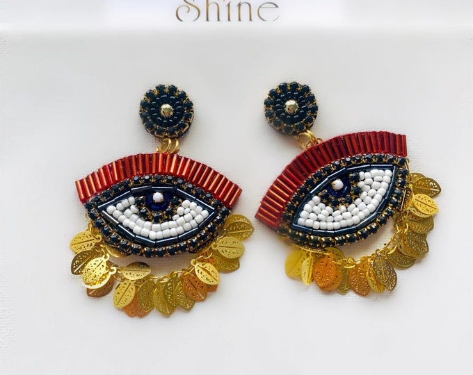 Evil eye earrings. Handmade. Statement earrings. Beaded earrings