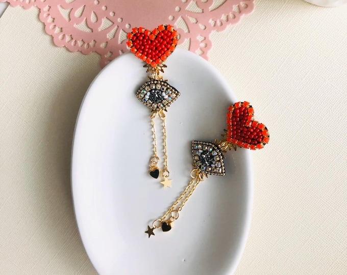 Evil eye earring, Heart earrings, protection earrings, handmade statement earrings, wanderlust earrings, Gold plated earrings