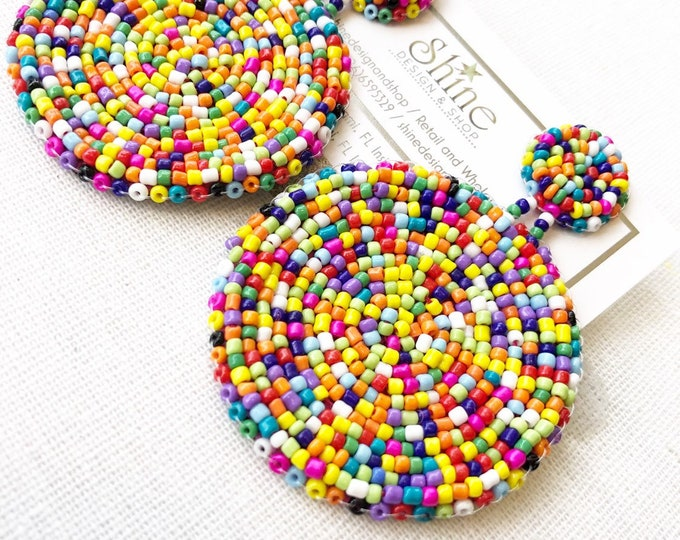 Handmade beaded multicolor earrings