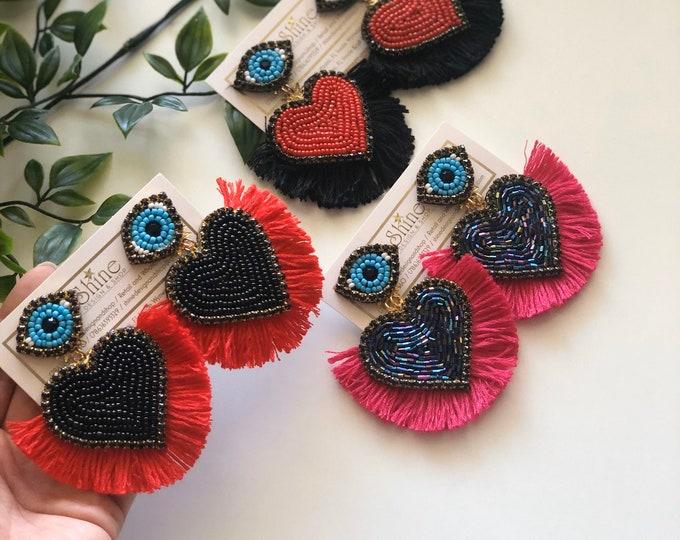 Hearts earrings, Handmade earrings , love earrings, valentines, Evil eye earrings.
