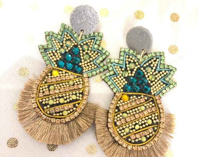 handmade pineapple earrings