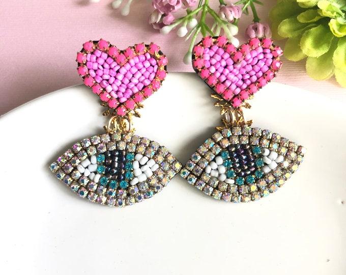 Evil eye earring, red heart earrings, handmade evil eye earrings, protection earrings, dainty evil eye charm, pink heart earrings