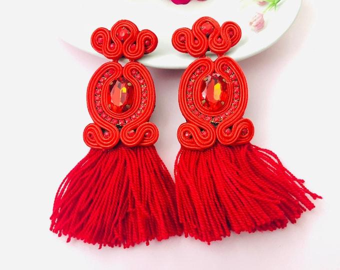 Handmade Soutache tassel earring, soutache jewelry, Statement earrings, edgy earrings, wanderlust jewelry, soutache earrings