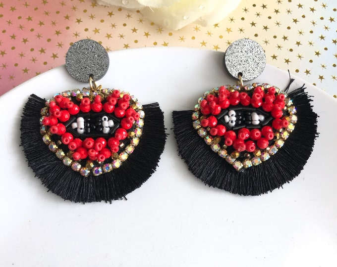 Evil Eye earring, red heart earring, black tassel earrings, statement earrings, evil eye charm jewelry,  heart beaded earrings