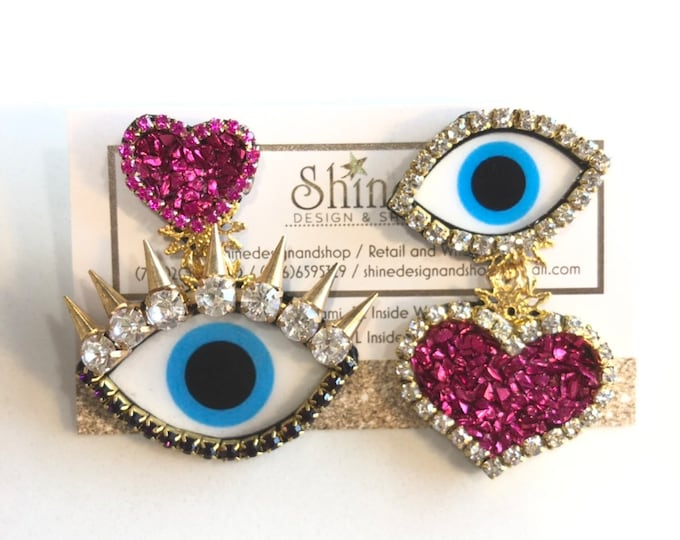 Evil eye earrings with hearts(available colors)