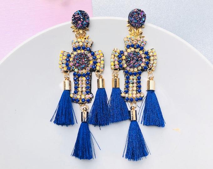 Big Cross earrings, Handmade statement earrings, Tassel earrings, catholic earrings, stunning earrings, cross charm earrings