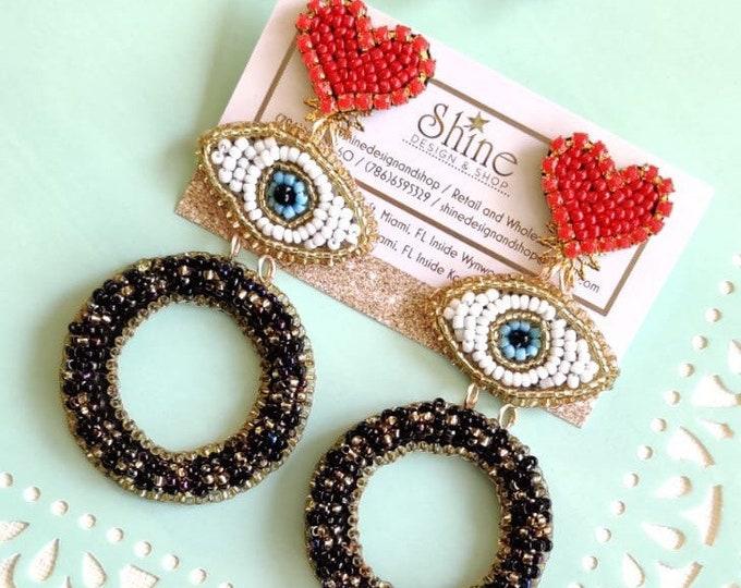 Beaded Earrings. Evil eye earrings. Heart earrings. Statement earrings. Handmade. Large earrings