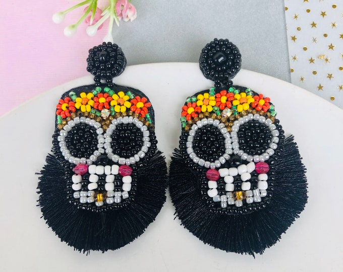 Sugar Skull earrings, seed beed fringe earrings, handmade statement earrings, black tassel earrings, wanderlust jewelry